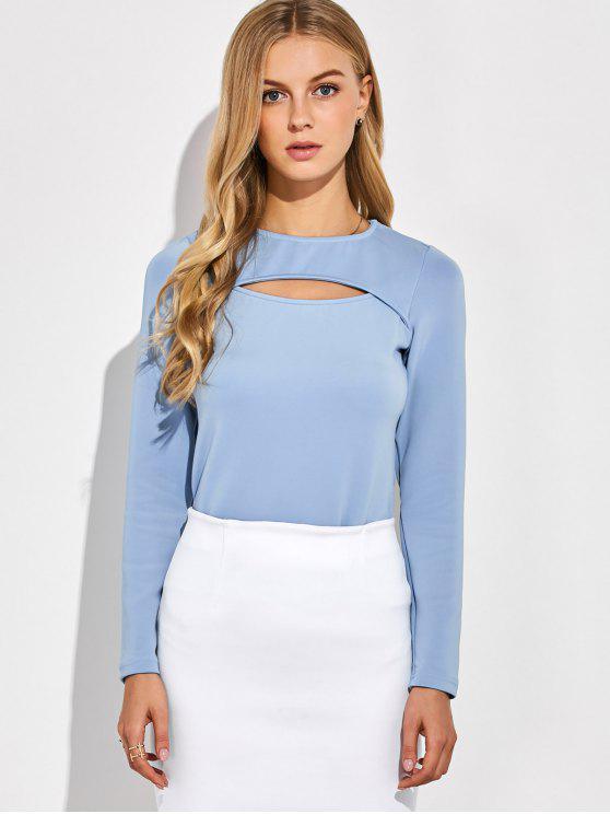 Camiseta larga de las mangas del recorte - Azul Gris S