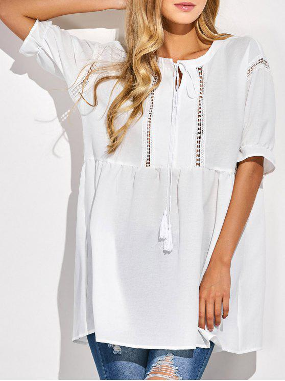 shops Oversized Cut Out Blouse - WHITE S