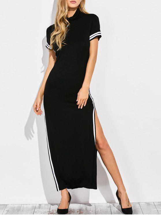 فستان عالية الرقبة جانب الانقسام قطع ماكسي - أسود 2XL