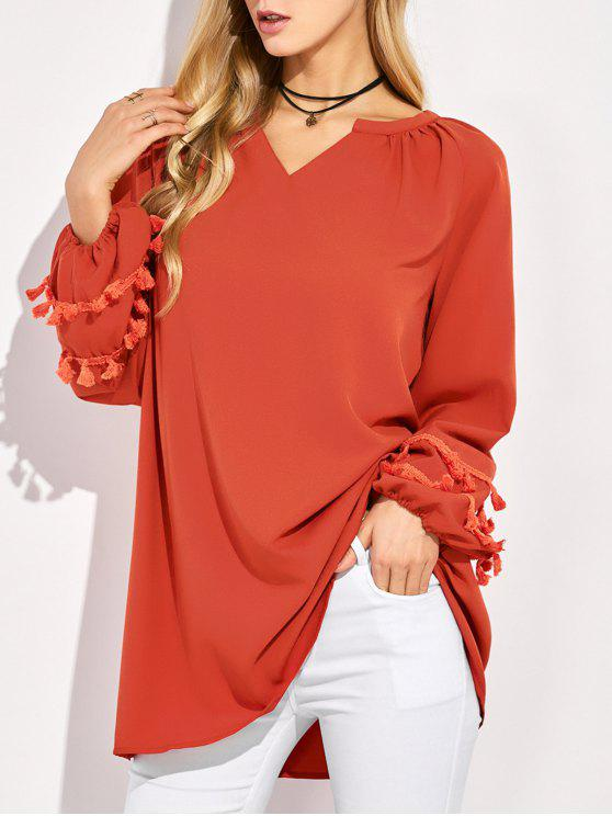 unique V Neck Tassel Blouse - RED M