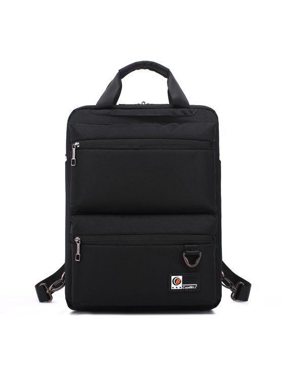 حقيبة الظهر نايلون بسحاب بجيب - أسود