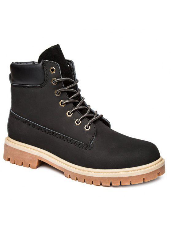 جلد الغزال بو الجلود الدانتيل يصل الأحذية - أسود 41