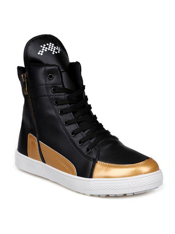 كتلة اللون مزدوجة سستة التعادل حتى الأحذية - أسود 43