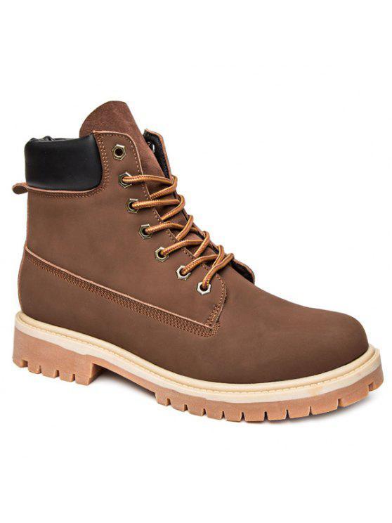 جلد الغزال بو الجلود الدانتيل يصل الأحذية - ديب براون 42