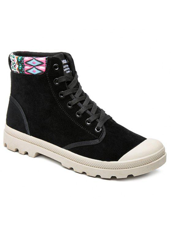القبيلة نمط كتلة اللون التعادل حتى الأحذية - أسود 43