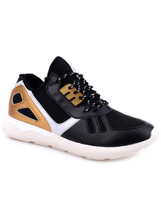 اللون كتلة تمتد النسيج أحذية رياضية - الأسود والذهبي 42