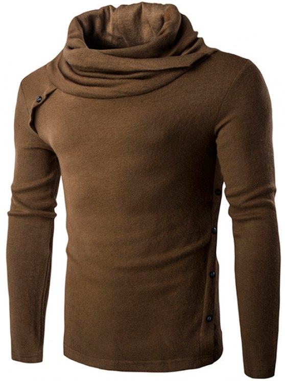 Suéter Cuello Oblicuo Botón Adorno - Caqui XL