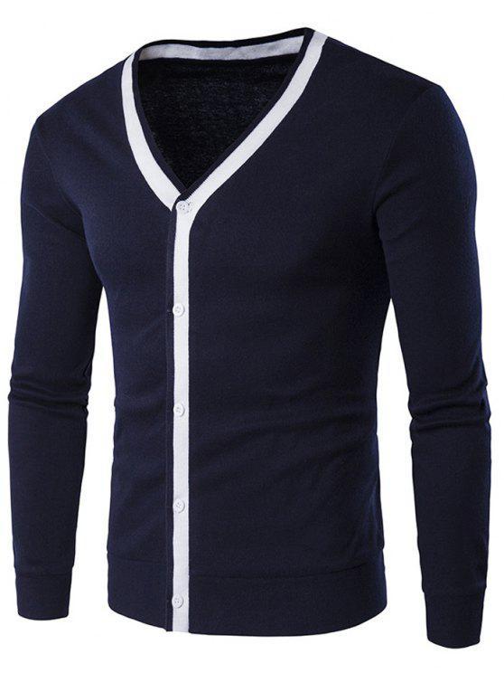 women's Button Up V Neck Contrast Trim Cardigan - CADETBLUE M
