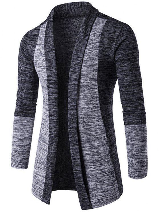 Space-Dye-Contrast-Panel vorne offen Cardigan - Dunkelgrau XL