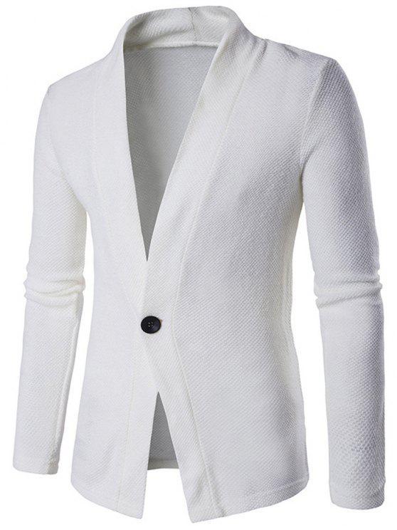 Struttura lavorata a maglia One Button Cardigan - Bianca XL