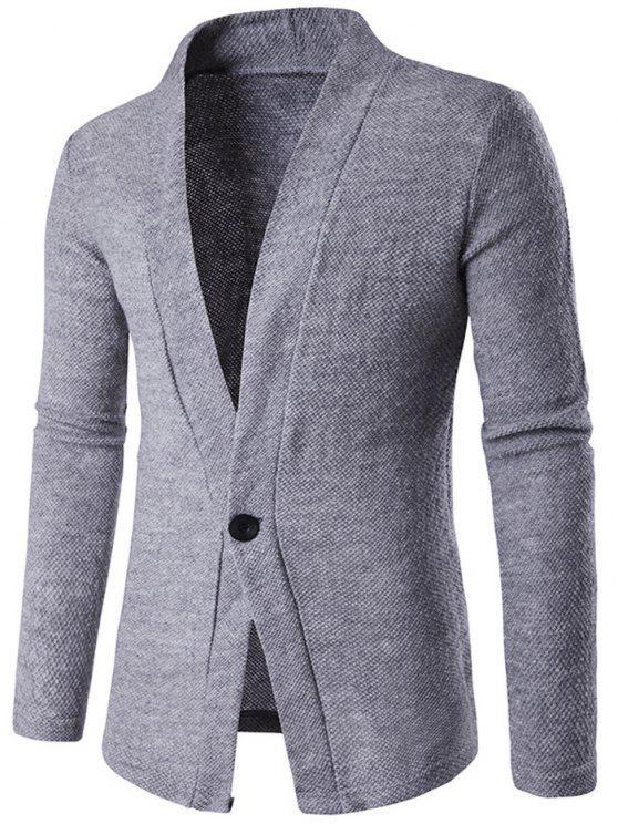 Cardigan en Tricot Texturé à Bouton Simple - gris L