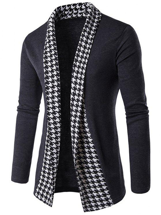 shops Knitted Houndstooth Open Front Cardigan - GRAY L