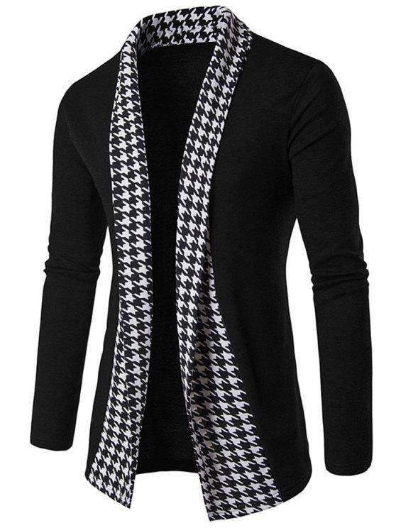 unique Knitted Houndstooth Open Front Cardigan - BLACK XL