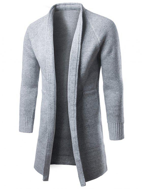 outfits Raglan Sleeve Open Front Drape Cardigan - GRAY M