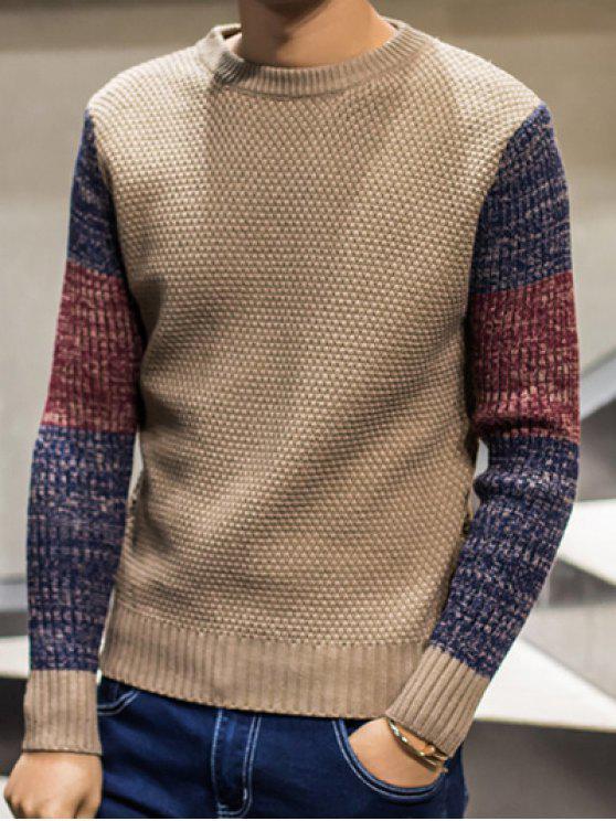 Color Block pullover girocollo Maglione - Cachi XL