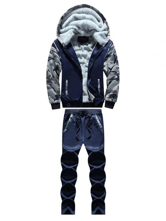 Pantaloni Felpati E Felpa Con Cappuccio A Camuffamento Con Cerniera - blu scuro 3XL