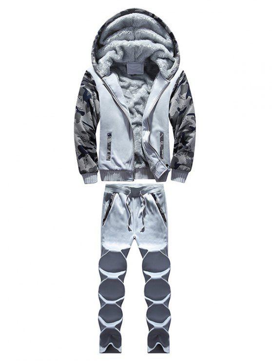 Zip Up Camouflage-Panel Hoodie und Jogginghose - Hellgrau 3XL