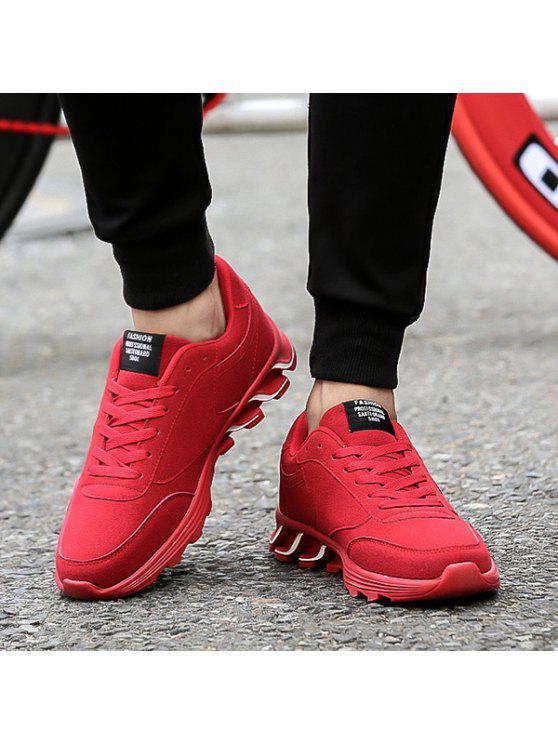 الدانتيل متابعة نمط الرسالة الجلد المدبوغ أحذية رياضية - أحمر 40