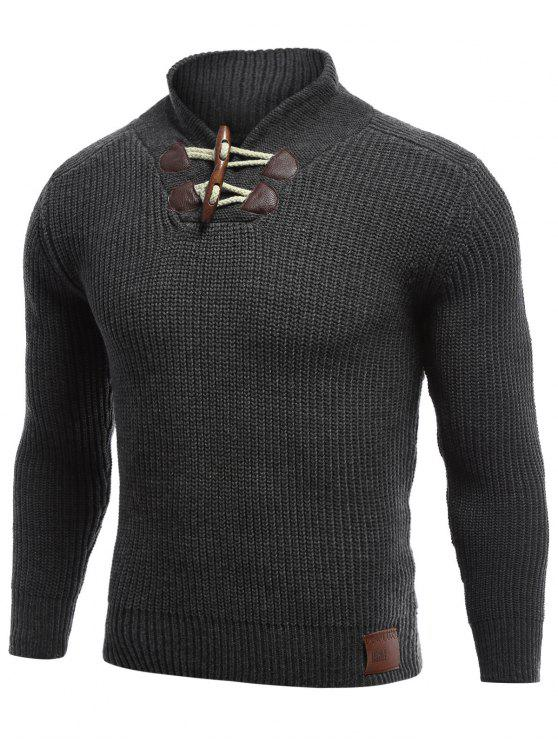 best Flat Knitted Pullover Toggle Sweater - BLACK 2XL