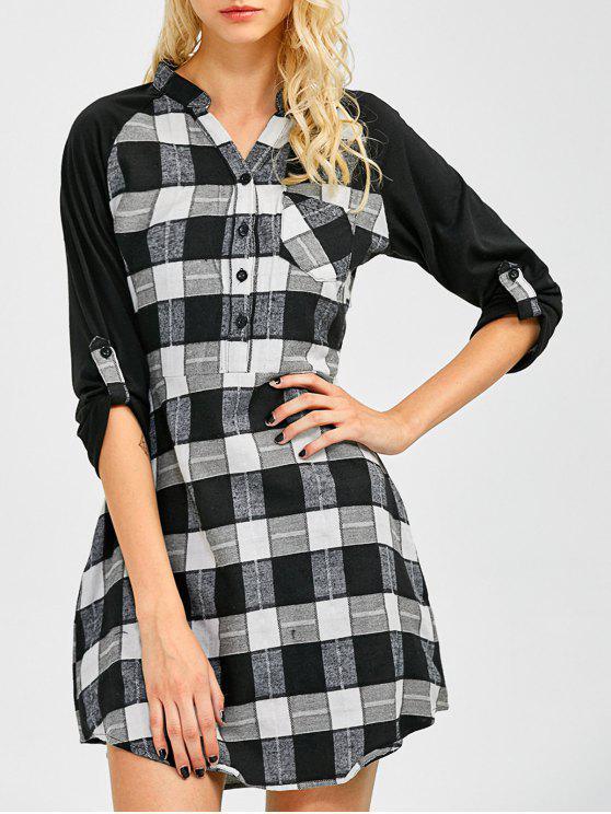 lady Checked Lace Panel Mini Shift Dress - CHECKED XL