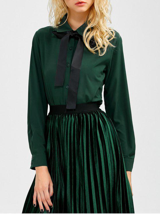 ladies Boyfriend Long Sleeve Bowknot Shirt - BLACKISH GREEN L