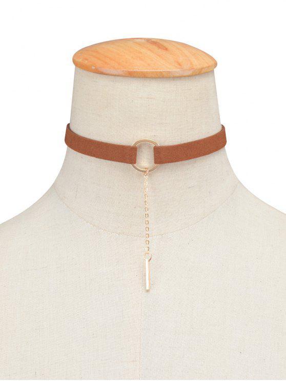 Cadena pendiente de la aleación del collar del ahogador del círculo - Marrón