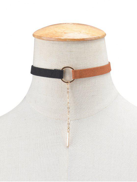 Cadena pendiente de la aleación del collar del ahogador del círculo - Negro+Marrón