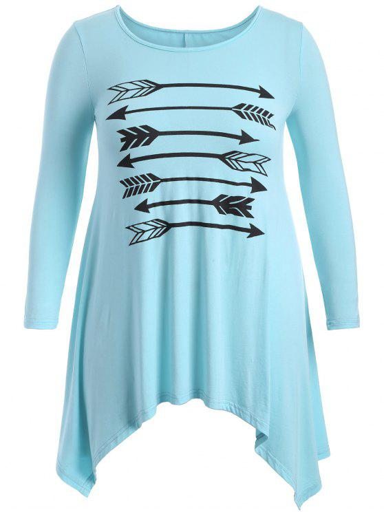 women's Arrow Pattern Irregular Hem Tee - LIGHT BLUE 2XL