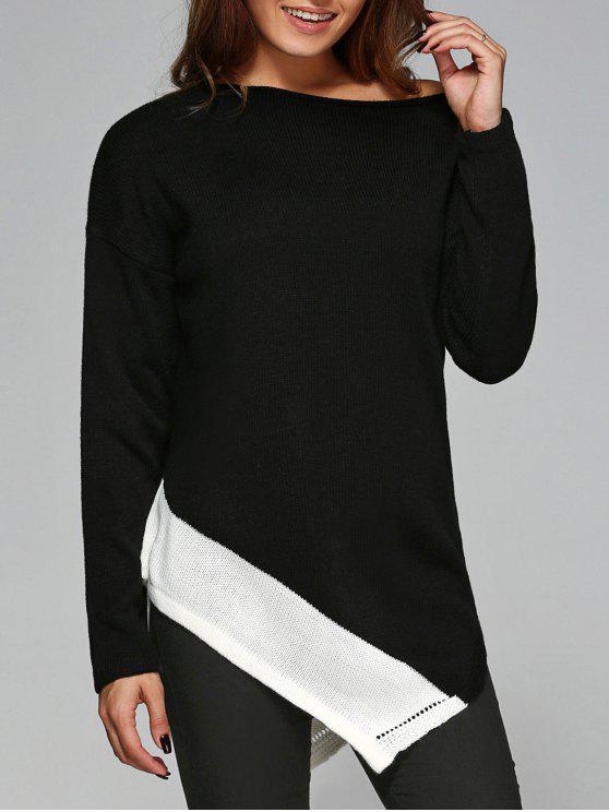 لباس المحبوك غير متماثل مائل الرقبة - أبيض وأسود L