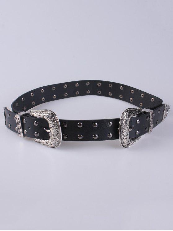Remache doble hebilla de cinturón - Negro