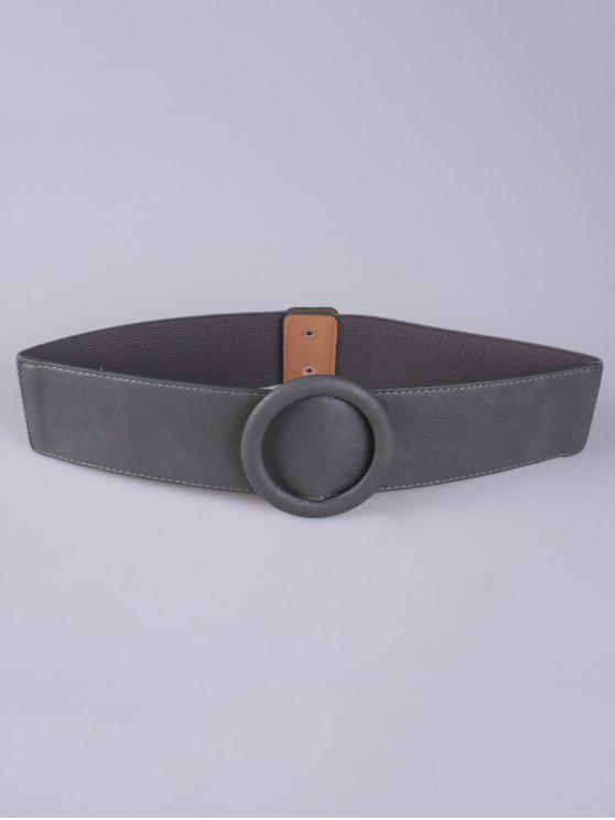 chic Round Buckle Stretch Belt - GRAY
