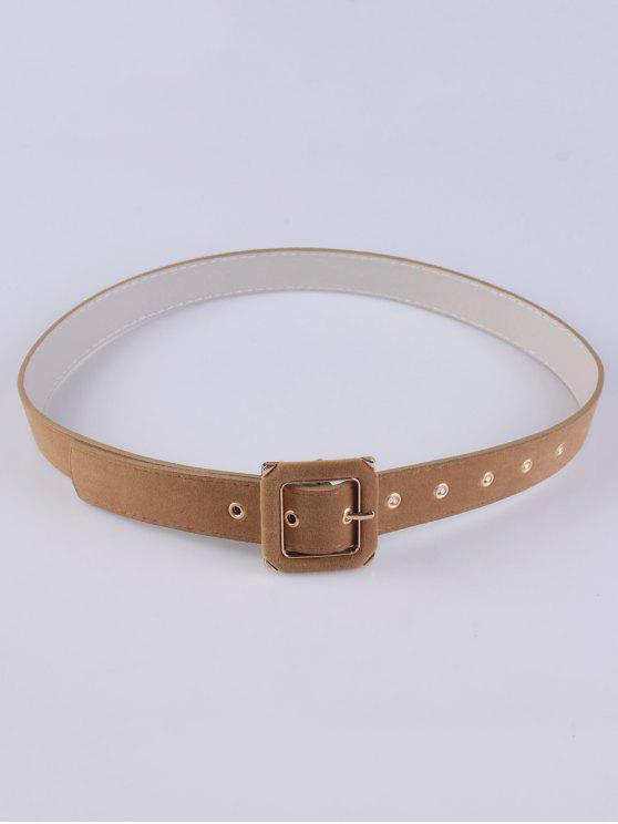 latest Square Buckle Velvet Belt - CAMEL