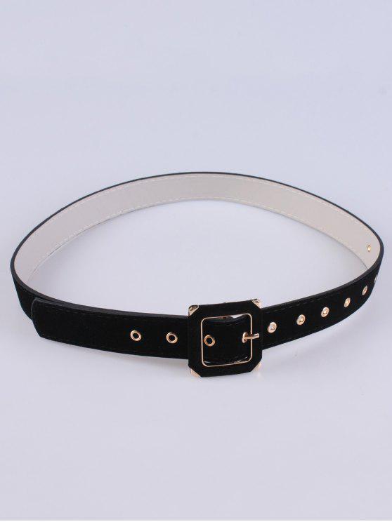 trendy Square Buckle Velvet Belt - BLACK