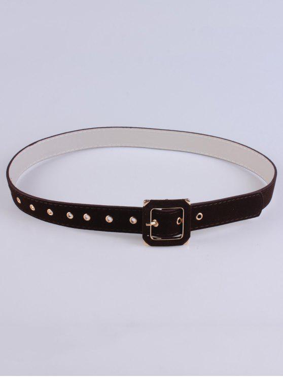 buy Square Buckle Velvet Belt - MAROON