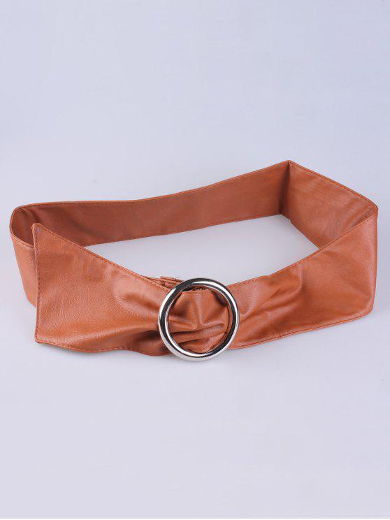 women's Alloy Ring PU Belt - ANTIQUE BROWN