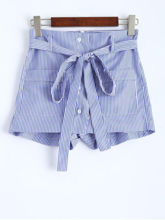 Short ceinturé rayé avec poches - Rayure L