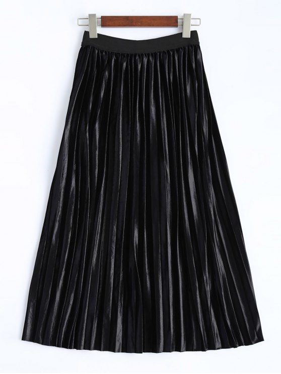 Shiny Pleated Midi Rock - Schwarz XL