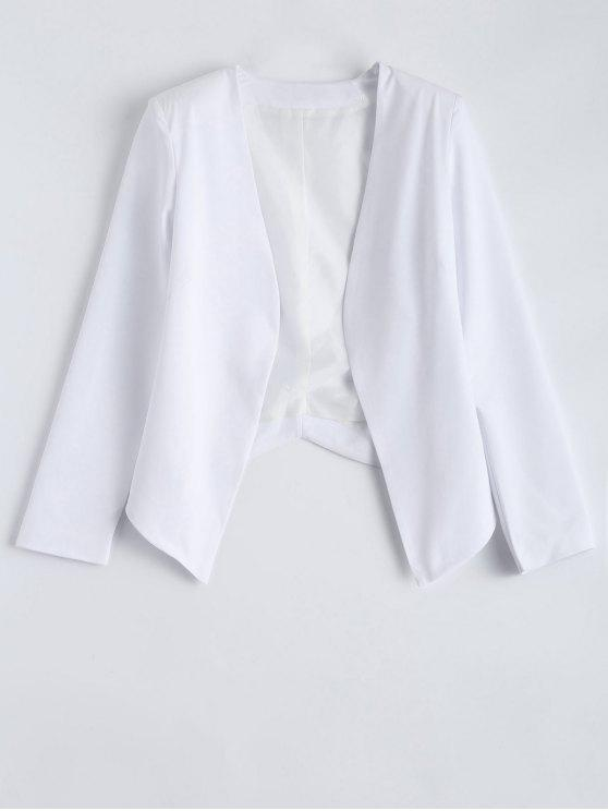 shops Collarless Open Front Blazer - WHITE S
