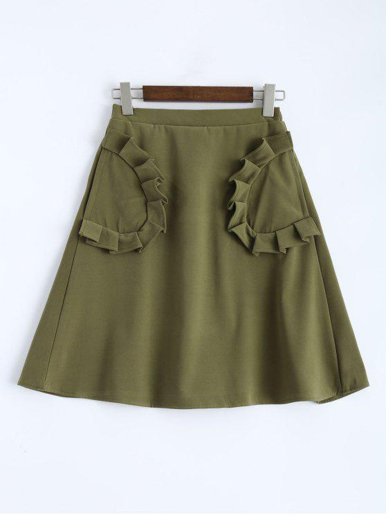chic A Line High Rise Pockets Skirt - ARMY GREEN XS