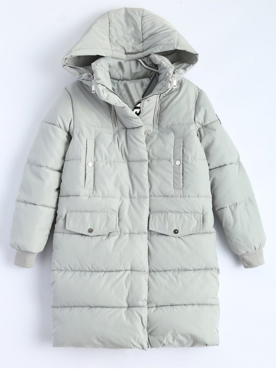 womens Hooded Quilted Padded Coat - GRAY M
