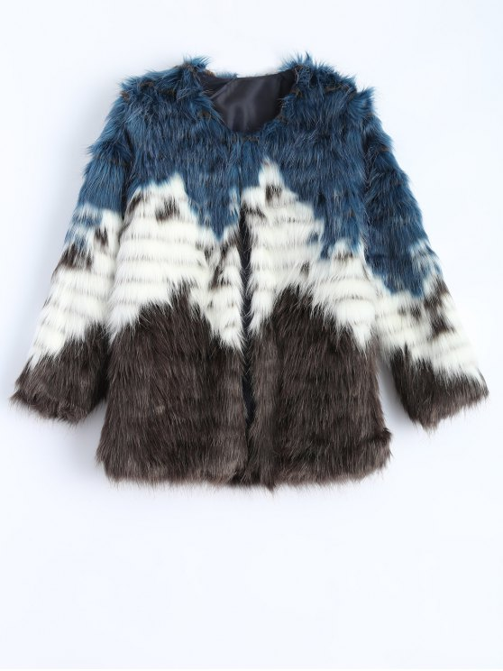 ladies Color Block Faux Fur Coat - MULTICOLOR M