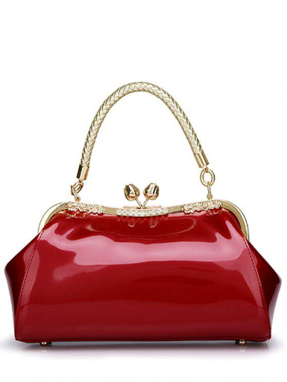womens Patent Leather Metal Trimmed Handbag - WINE RED