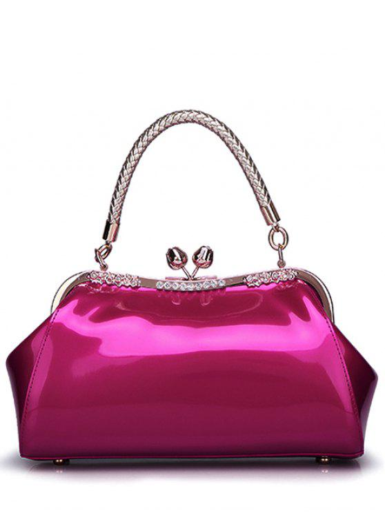 ladies Patent Leather Metal Trimmed Handbag - ROSE RED