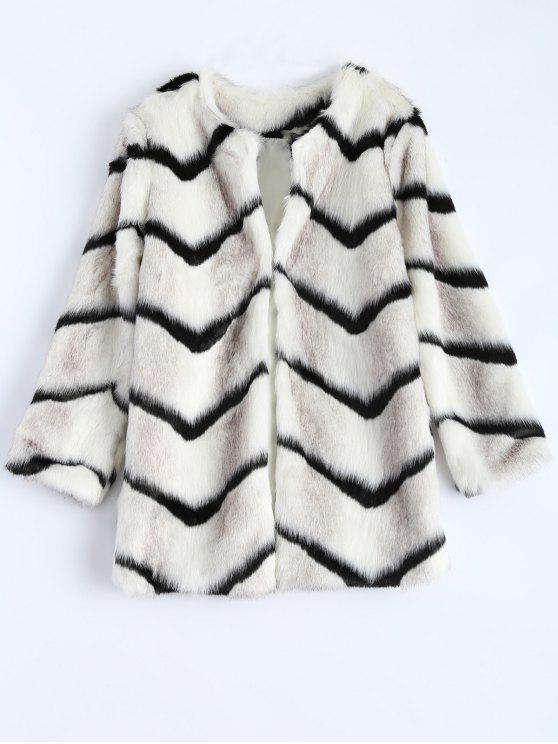 best Zig Zag Faux Fur Coat - WHITE ONE SIZE