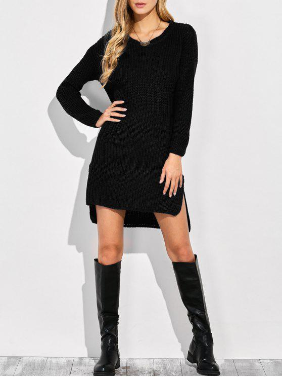 shop High-Low Knitting Dress - BLACK ONE SIZE