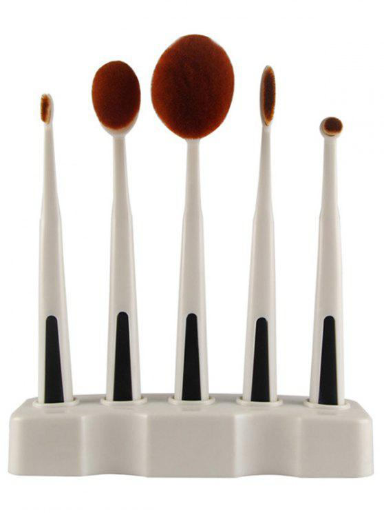 womens 5 Pcs Toothbrush Shape Makeup Brushes Set with Holder - WHITE