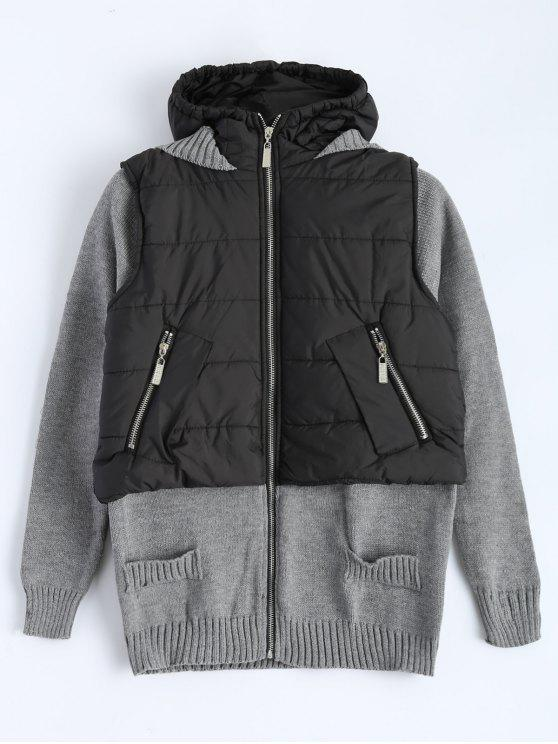 fashion Contrast Knit Quilted Jacket - BLACK AND GREY 2XL