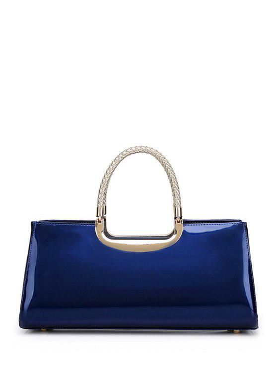 outfits Braid Patent Leather Handbag - DEEP BLUE