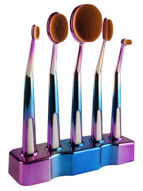 5 Pcs Brosses ombre de maquillage forme de brosses à dents avec porte-brosse - Bleu