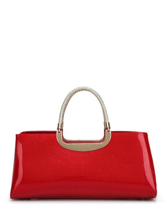 latest Braid Patent Leather Handbag - RED